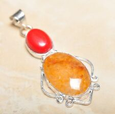 "Handmade Calcite Jasper Gemstone 925 Sterling Silver Pendant 2.5"" #P14348"