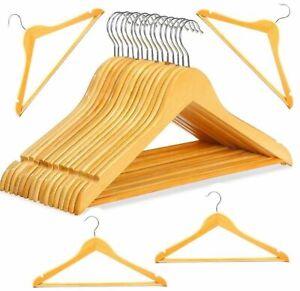 20 Kleiderbügel Holz mit Steg Stange Garderoben Bügel Hose Jacken Kleider Natur