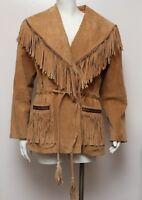 VTG Scully Womens Fringe Brown Leather Jacket  Western Wear Sz 10