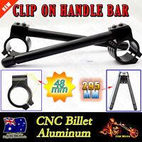 "48mm Motorcycle Black Clip-On 7/8"" Handlebar Fork Tube For Cafe Racer Universal"