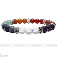 7Chakra Natural Gemstone Beads Healing Point Reiki Stone Bracelet Wristband