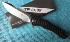 TwoSun Camping D2 Carbon Fiber Fast Opening Folder Pocket Knife Aranea TS114-CF