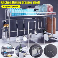Adjustable 60-90cm Dish Drying Drainer Plate Cutlery Shelf Holder Rack Drip UK