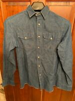 Vintage Wrangler Sanforized Denim Western Pearl Snap Shirt Boys Sz 16