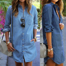 UK 8-24 Women Buttons Down Denim Look Jeans Long Sleeve Mini Dress T Shirt Tops