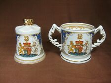 Aynsley Royal Marriage of Prince William 2-handled Mug and Bell Set Gold Trim