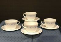Vintage Corning Pyrex Morning Blue Coffee Tea Cups & Corelle Saucers Set of 4