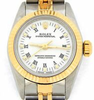 Ladies Rolex 18k Gold/Stainless Steel Oyster Perpetual Watch White Roman 67193