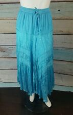 Long Blue Embroidered Lace Tiered Peasant Maxi Boho Dress-Skirt 14/16/18/XL