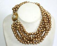CAROLEE Matte Gold Tone Multi Strand Faux Pearl Choker Necklace ND3