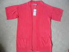 EX M&S FUCHSIA PINK LINEN RICH LIGHTWEIGHT SUPER FINE KNIT OPEN CARDIGAN SIZE 10