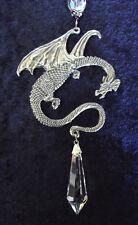 Dragon & Crystal Celtic Medieval Pewter Magic Hobbit Good Luck Car Suncatcher