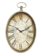 Clayre & Eef große Wanduhr oval Uhr wohnzimmer Antik Landkarte Dekouhr 52564