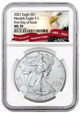 2021 American Silver Eagle T-1 Ngc Ms70 First Day of Issue Exclusive Eagle