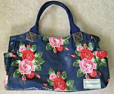 Navy Blue Flowery Handbag
