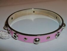 COACH 90512 Pink + Silver Grommets Rivets Bangle Bracelet New NWT + Pouch!