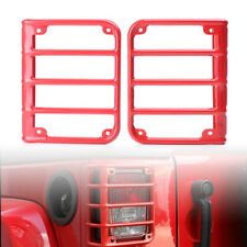 Rear Steel Tail Light Cover Protector Guard Frame RED For 2007-17 Jeep Wrangler