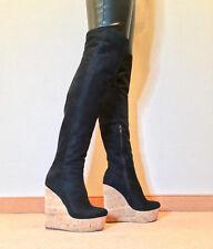 Gr.45 TOP ! Exklusiv Sexy Damen Schuhe Overknee Wedges Stiefel Männer Boots C7