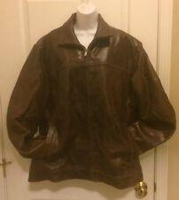 WILSONS M. Julian Rugged Distressed Brown Leather Motorcycle Coat Jacket Men XL