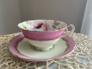 ~ Vintage Merit China Pink Roses Gold Trim Tea Cup & Saucer Occupied Japan ~