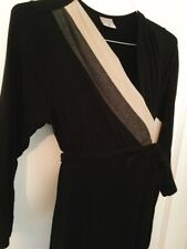 Motherhood Striped Maternity Dress Sz S Belted Long Sleeves Stretch Black/ Creme