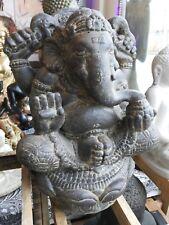 XL Ganesha Ganesh Buddha Lavastein Stein grau Asia Statue Lotus Unikat ca. 20 kg