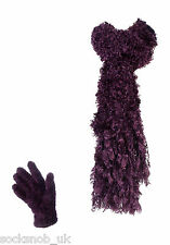 Ladies Luxury Feather Soft Scarf and Gloves Set One Size Bugundy Wine