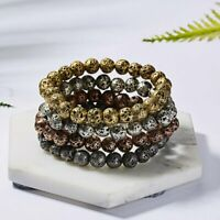 Punk Natural Volcanic Stone 8MM Beaded Elastic Bracelet Women Men Jewelry Gifts