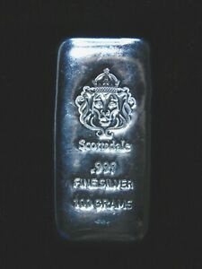 Scottsdale Mint 100 gram .999 Silver Poured Bar