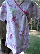 Disney SCRUB TOP- Tinkerbell Fairy Novelty Pattern Size XS See Measurements Pink
