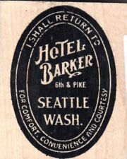 Tim Holtz Collection Hotel Barker word wood mounted Rubber stamp - New