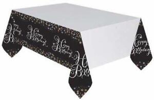 Gold & Black Happy Birthday Plastic Table Cover Sparkling Celebration