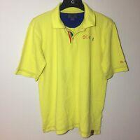 COOGI Yellow Embroidered Polo Shirt Size XL Rainbow 🌈 3 Button Neck Detail