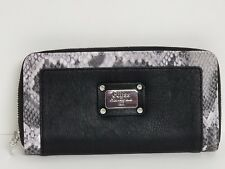 Guess Escapade Sky Blue Multi & Black Multi Large Zip Around Wallet Clutch NWT