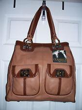NWT B Makowsky Large(13x14 1/2) Brown Leather Tote-Shopper Shoulder Bag/Pockets