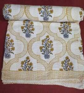 Hand Block Print Kantha Quilt Bedspread Bedding Throw Cotton Blanket Twin Decor