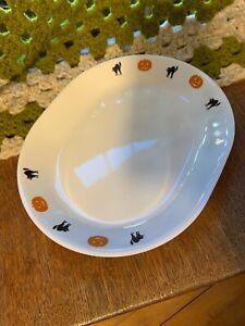 1  NEW Corelle HALLOWEEN 12 1/4 x 10 SERVING PLATTER Plate Pumpkins & Black Cats