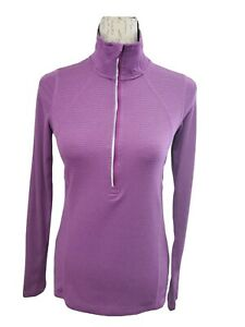 Champion Duo Dry XS Long Sleeve Thumb Hole Zip Front Purple Athletic Top