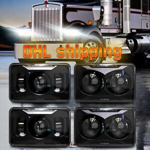 For Kenworth T800 Peterbilt 379 Freightliner FLD 112 LED Headlights 4x6 Inch 4pc