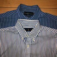 Lot of 2 Ralph Lauren Men's Medium Blue Stripe Button Down Long Sleeve Shirt M