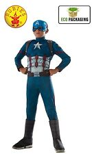 CAPTAIN AMERICA DELUXE  CIVIL WAR FANCY DRESS COSTUME MUSCLE CHEST size (8-10)