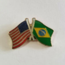 Usa Flag American Flag Brazil Flag Crossed Flags Lapel Hat Pin Tie Tac Fast Shp