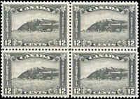 1930 Mint H/NH Canada F-VF Block Scott #174 12c King George V Arch/Leaf Stamps