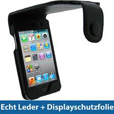 Negro cuero auténtico bolso para Apple iPod Touch 4g 4te gen 8/32/64gb, funda protectora, funda
