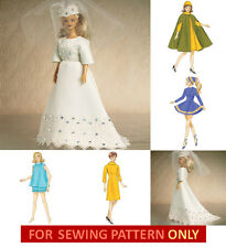 SEWING PATTERN! MAKE BARBIE DOLL CLOTHES! VINTAGE 50'S STYLES! 5 OUTFITS! BRIDE!