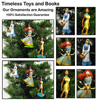 Disney Princess 3 Piece Christmas Ornaments Set with Belle, Merida, Pocahontas