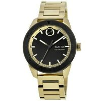 New Movado Bold Black Dial Gold Tone Stainless Steel Men's Watch 3600605