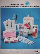 PUBLICITÉ LOTUS COUCHE GAMME COMPLÈTE EN OUATE DE CELLULOSE 1966 - ADVERTISING
