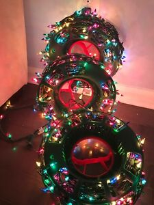Lot Of 3 Strands Of Xmas Tree Lights Multi Colored And Storage Bag