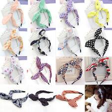 Women Ladies Girls Cute Wire Bunny Ear adjustable bow scarf Hair head band Wrap